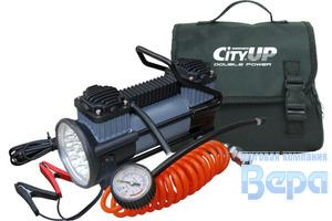 Компрессор 2-х цилиндр CITY UP 619 Double Piston Tyre Inflator (60л/мин;10А) с фонарем + клеммы